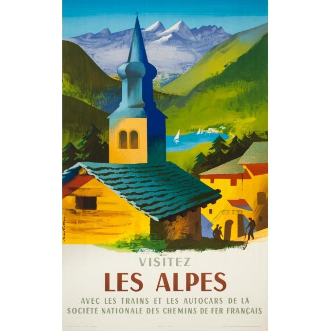 Affiche ancienne de voyage - Nathan - 1958 - Visitez les Alpes - 100 par 63 cm
