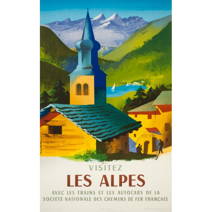 Vintage travel poster - Nathan  - 1958 - Visitez les Alpes - 39.4 by 24.8 inches