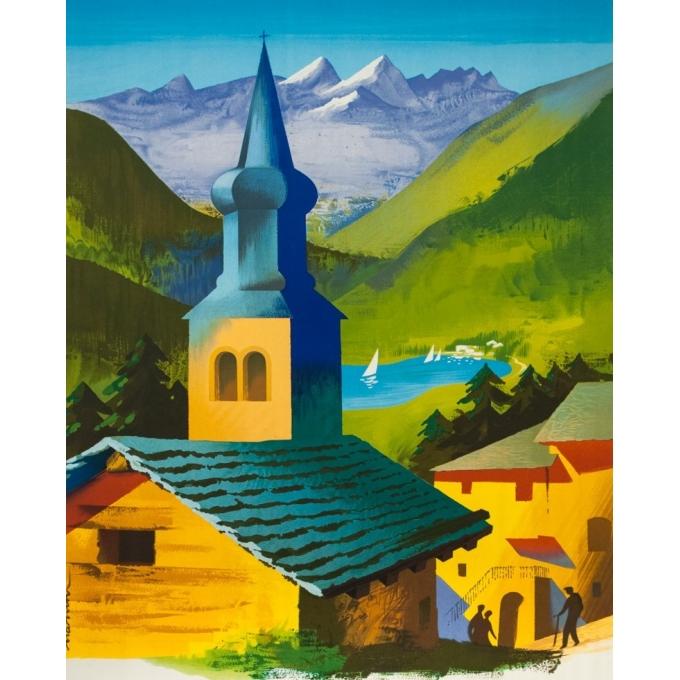 Affiche ancienne de voyage - Nathan - 1958- Visitez les Alpes - 100 par 63 cm - Vue 2