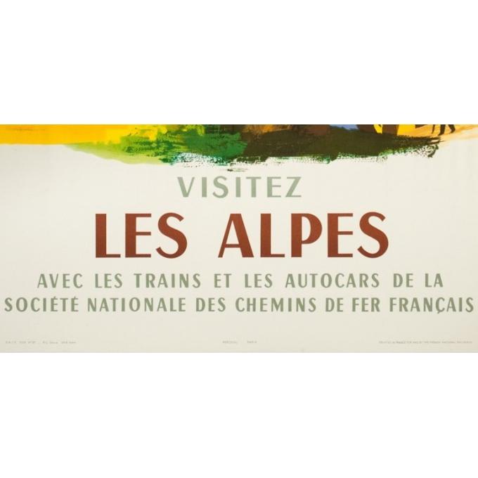 Affiche ancienne de voyage - Nathan - 1958- Visitez les Alpes - 100 par 63 cm - Vue 3