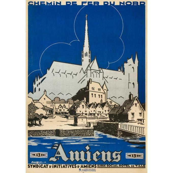 Affiche ancienne de voyage - Ringard - 1929- Amiens - 104.5 par 73.5 cm