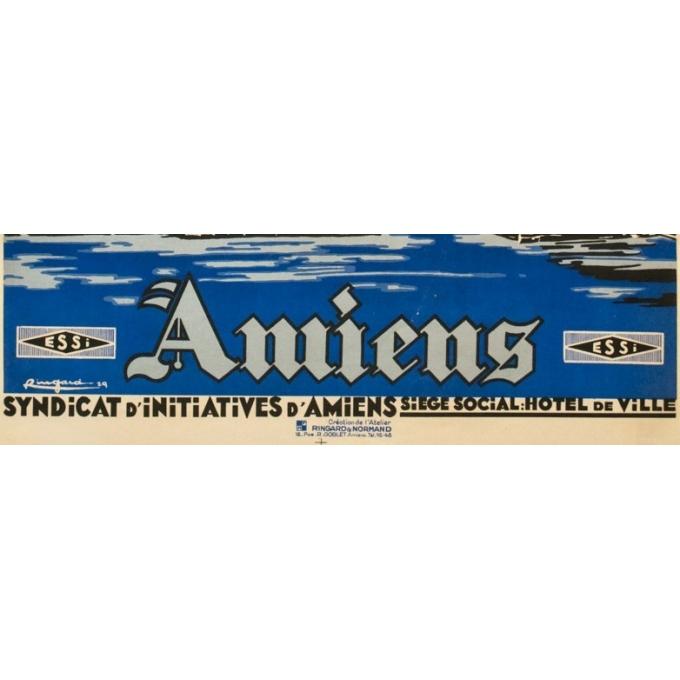 Affiche ancienne de voyage - Ringard - 1929- Amiens - 104.5 par 73.5 cm - 3