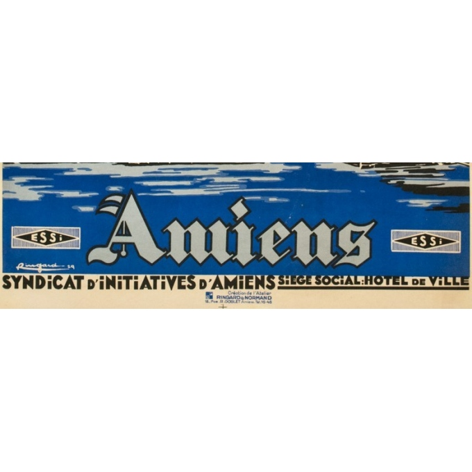 Vintage travel poster - Ringard - 1929 - Amiens- - 41.1 by 28.9 inches - 3