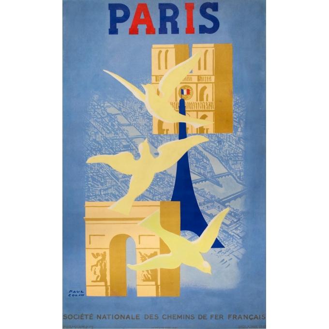 Affiche ancienne de voyage - Paul Colin - 1946 - Paris - 98 par 61 cm
