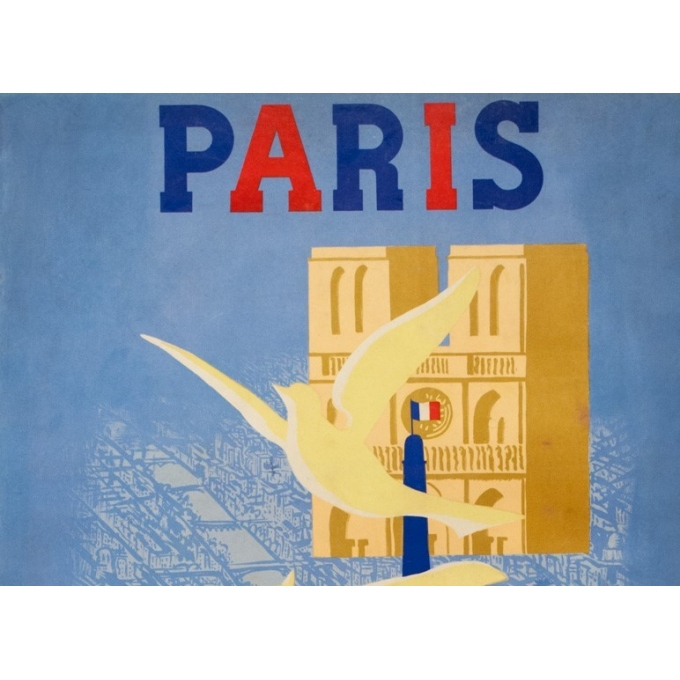 Vintage travel poster - Paul Colin - 1946 - Paris-  - 38.6 by 24 inches - 2