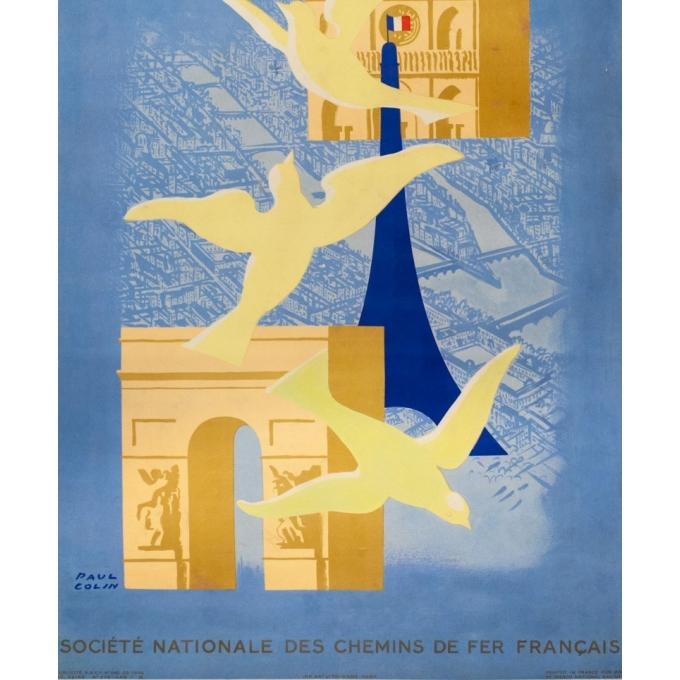 Affiche ancienne de voyage - Paul Colin - 1946 - Paris - 98 par 61 cm - 3