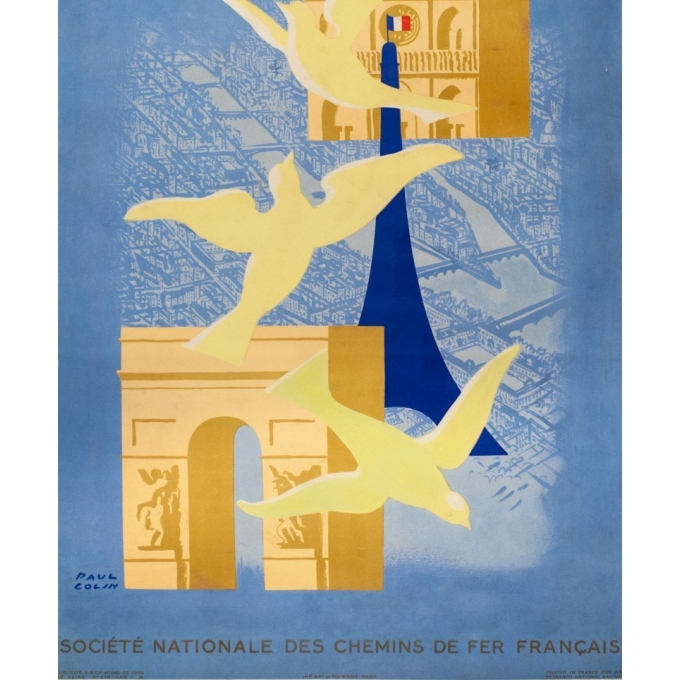 Vintage travel poster - Paul Colin - 1946 - Paris-  - 38.6 by 24 inches - 3