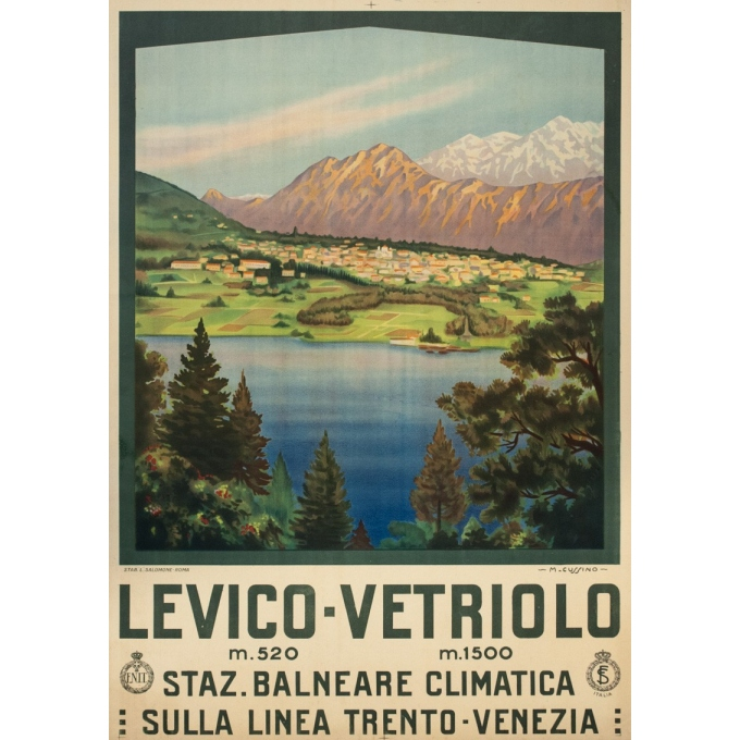 Vintage travel poster - M.Cussino - 1920 - Levico-Vertriolo-Italia-Italie - 38.6 by 27.2 inches