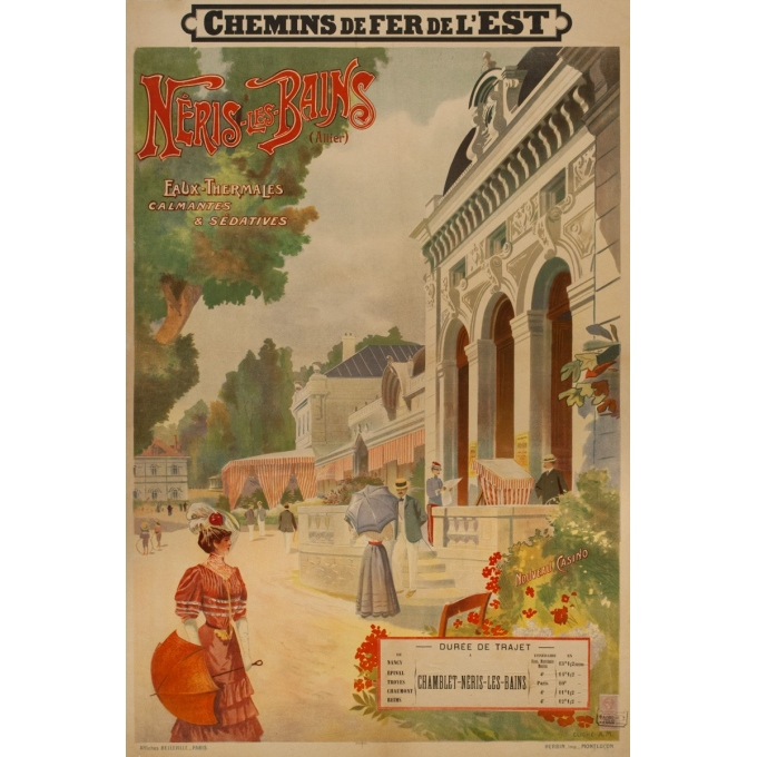 Affiche ancienne de voyage -  A.M. - 1900 - Neris les bains- Allier - 109.5 par 73.5 cm