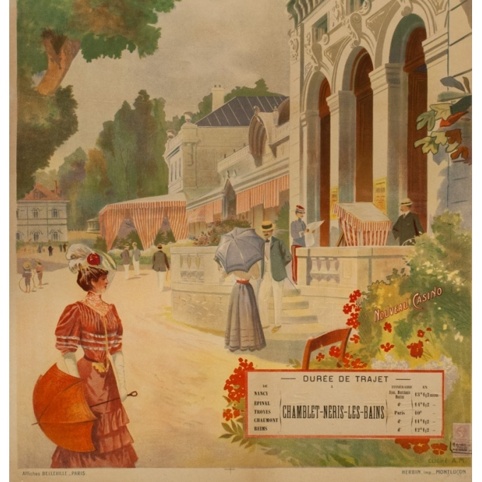 Vintage travel poster - A.M. - 1900 - Neris les bains- Allier - 43.1 by 28.9 inches - 3