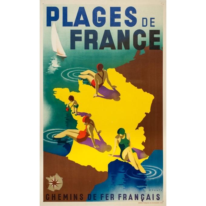Affiche ancienne de voyage - M.Ponty - 1935-  Plages de France - 100 par 62 cm