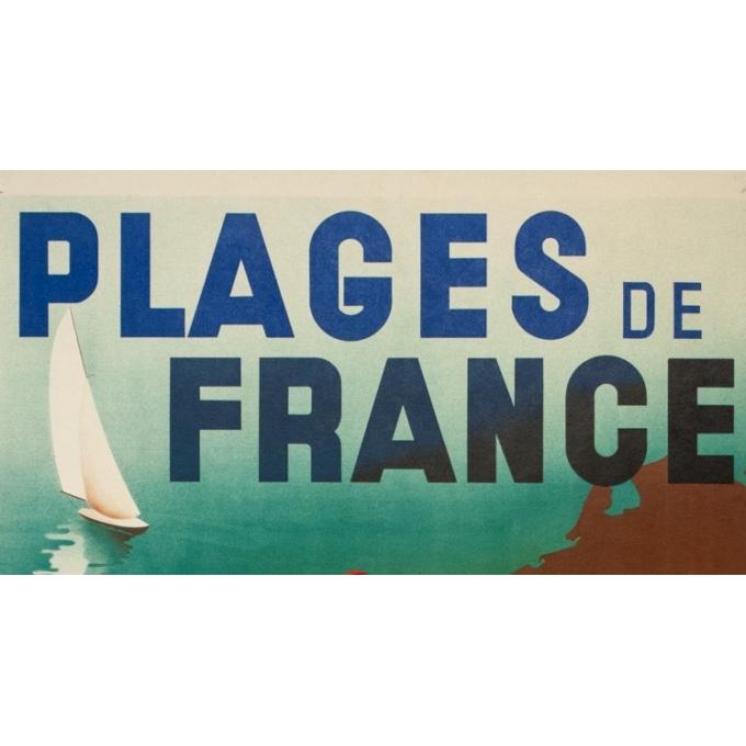 Affiche ancienne de voyage - M.Ponty - 1935-  Plages de France - 100 par 62 cm - 2