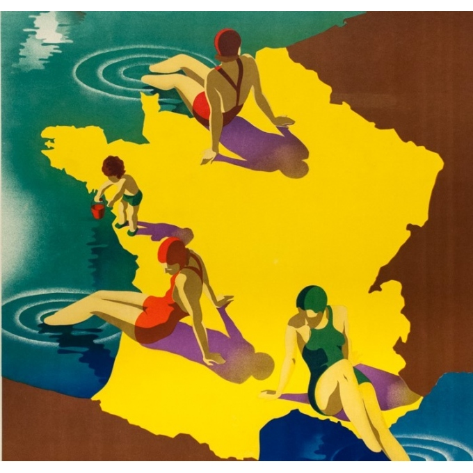 Vintage travel poster - M.Ponty - 1935 - Plages de France - 39.4 by 24.4 inches - 3