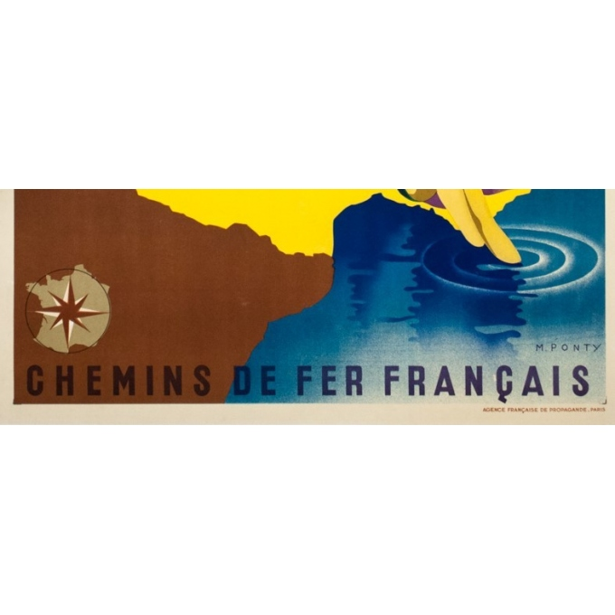 Vintage travel poster - M.Ponty - 1935 - Plages de France - 39.4 by 24.4 inches - 4