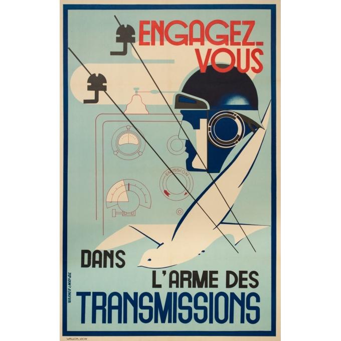Affiche ancienne de publicité - warener & Gile - 1940- Engagez-vous dans l'Armée des transmissions- - 100 par 65 cm