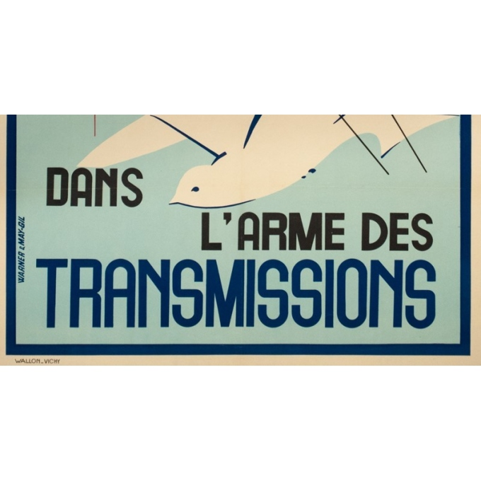 Affiche ancienne de publicité - warener & Gile - 1940- Engagez-vous dans l'Armée des transmissions- - 100 par 65 cm - 2