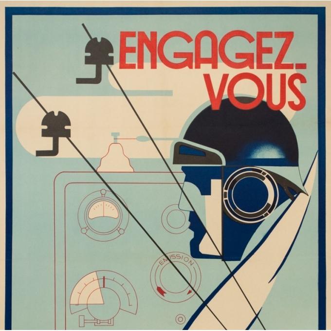 Affiche ancienne de publicité - warener & Gile - 1940- Engagez-vous dans l'Armée des transmissions- - 100 par 65 cm - 3