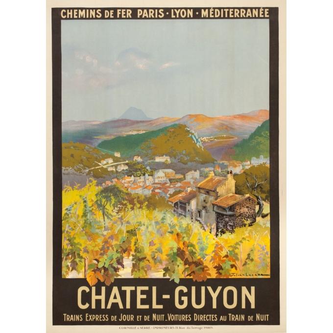 Affiche ancienne de voyage - Julien Lacaze - Ca 1910 - Chatel Guyon - 107 par 77.5 cm
