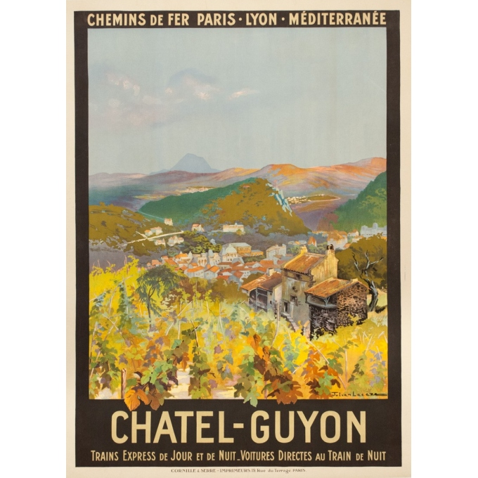 Vintage travel poster - Julien Lacaze - 1910  - Chatel Guyon France PLM - 42.1 by 30.5 inches