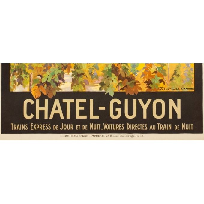 Vintage travel poster - Julien Lacaze - 1910  - Chatel Guyon France PLM - 42.1 by 30.5 inches - 3