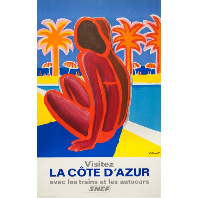 Affiche ancienne de voyage - Villemot - 1968 - Visitez la côte d'Azur - 100 par 63 cm