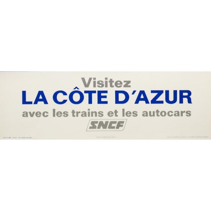 Affiche ancienne de voyage - Villemot - 1968 - Visitez la côte d'Azur - 100 par 63 cm - 2