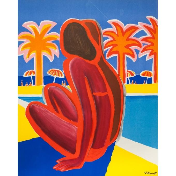 Affiche ancienne de voyage - Villemot - 1968 - Visitez la côte d'Azur - 100 par 63 cm - 3