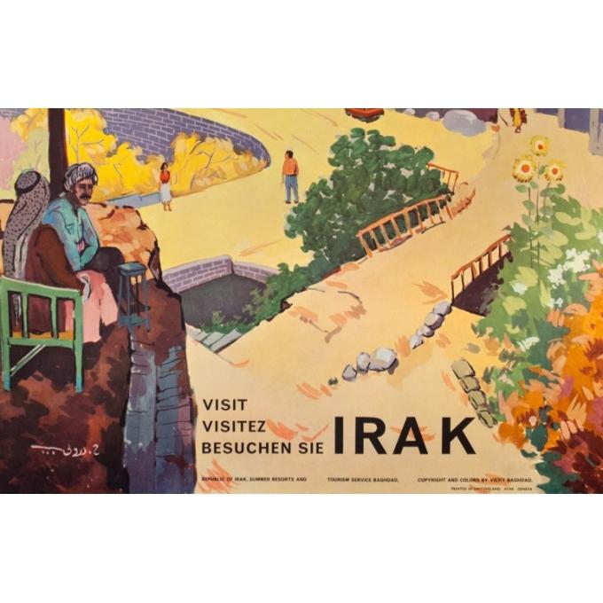 Affiche ancienne de voyage - 1960 - Irak- Kurdistan - 85 par 62.5 cm - 3
