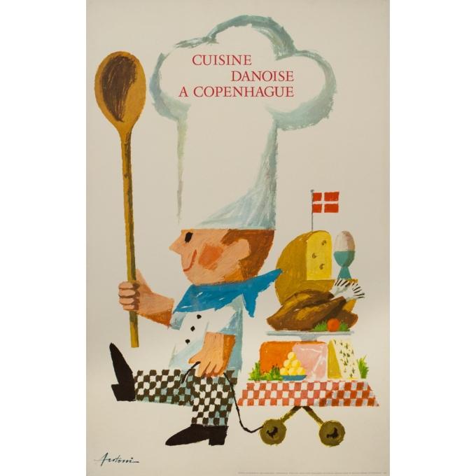 Affiche ancienne de publicité - Antoin - 1963 - Cuisine Danoise à Copenhague - 99.5 par 63 cm