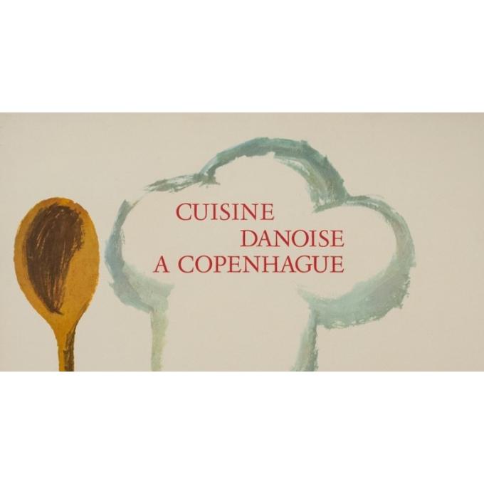 Affiche ancienne de publicité - Antoin - 1963 - Cuisine Danoise à Copenhague - 99.5 par 63 cm - 2