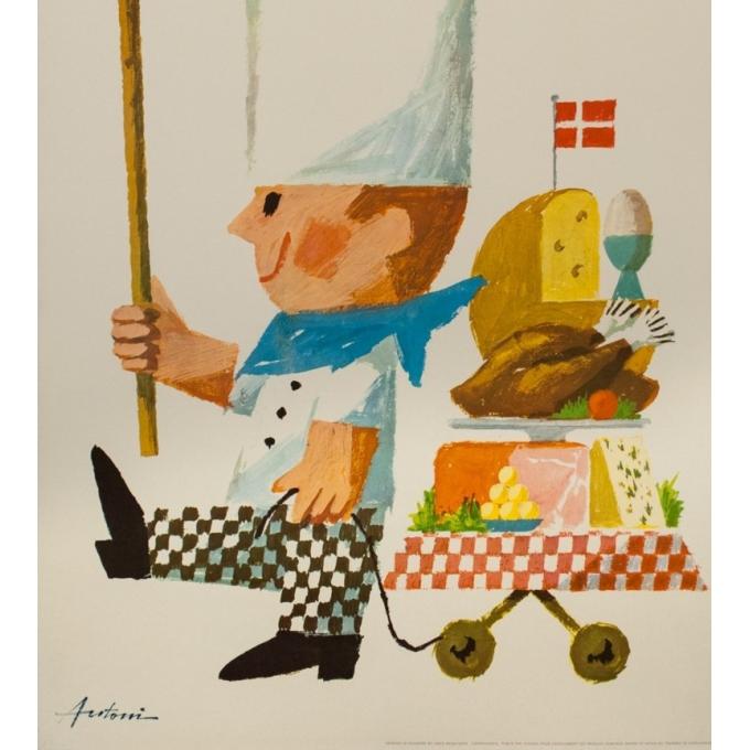 Affiche ancienne de publicité - Antoin - 1963 - Cuisine Danoise à Copenhague - 99.5 par 63 cm - 3