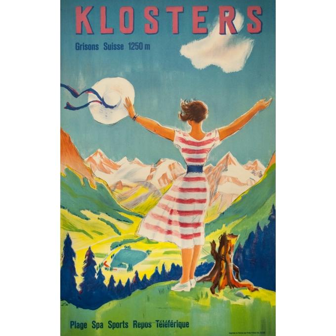 Affiche ancienne de voyage - L - 1954 - Klosters - Suisse-Grisons - 101.5 par 65 cm