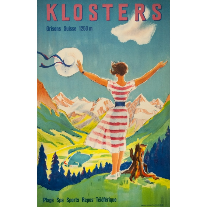 Vintage travel poster - L - 1954 - Klosters - Suisse-Grisons - 40 by 25.6 inches