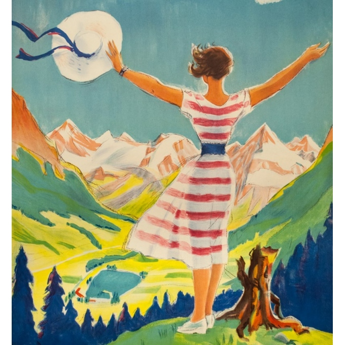 Vintage travel poster - L - 1954 - Klosters - Suisse-Grisons - 40 by 25.6 inches - 3