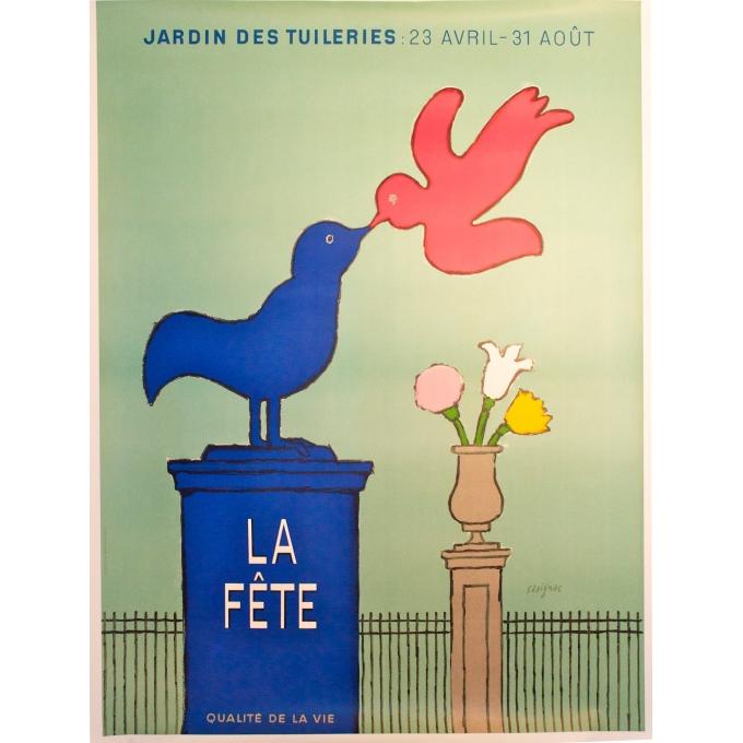 Affiche originale La fête Savignac, jardin des tuileries, Paris