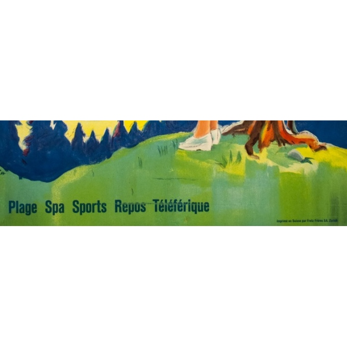 Vintage travel poster - L - 1954 - Klosters - Suisse-Grisons - 40 by 25.6 inches - 4