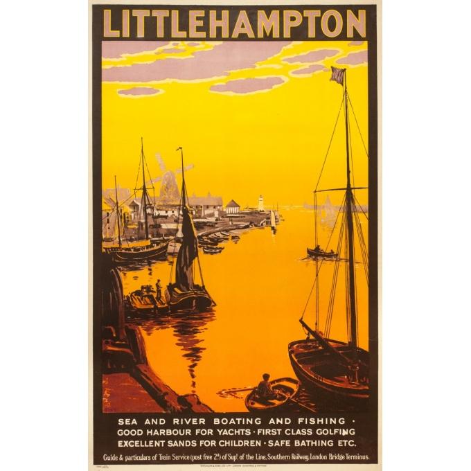 Affiche ancienne de voyage - anonyme  - 1923 - Little Hampton - 100 par 63 cm
