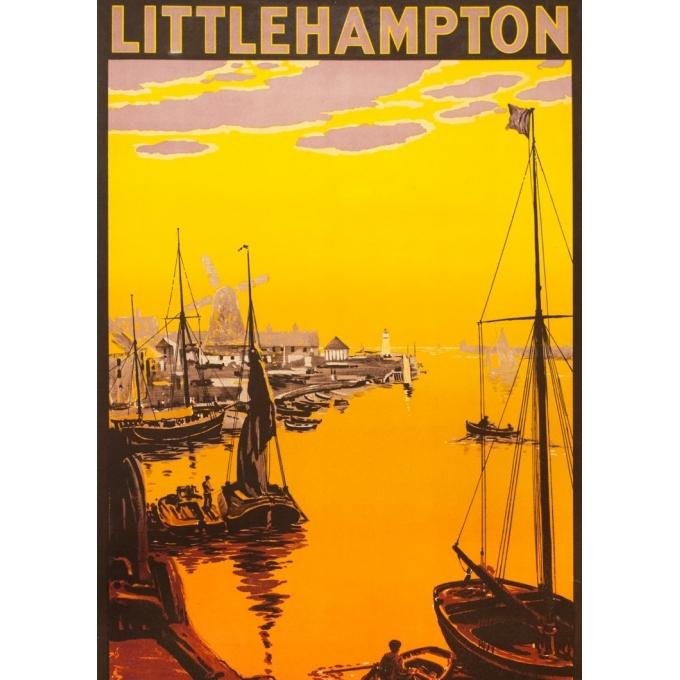 Affiche ancienne de voyage - anonyme  - 1923 - Little Hampton - 100 par 63 cm - 2