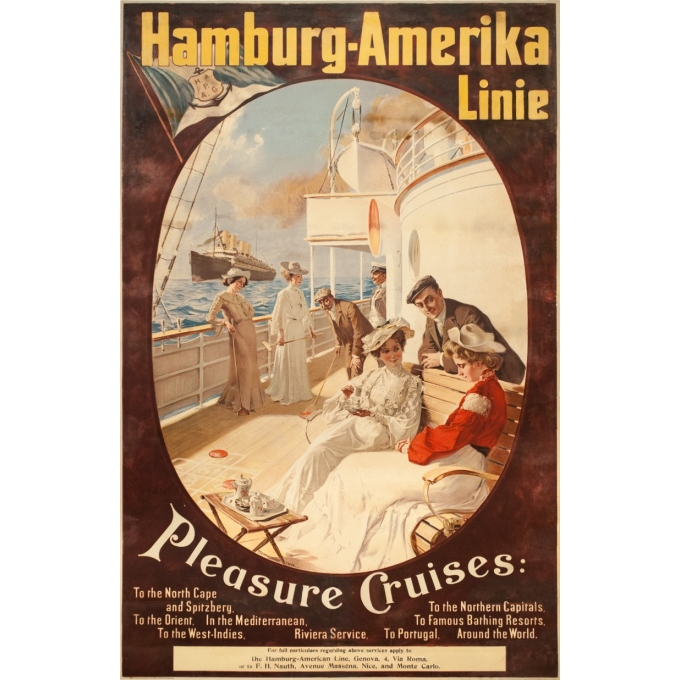 Affiche ancienne de voyage - Felix Schwormstadt - 1900- Hambourg-amerika-linie - 105.5 par 68.5 cm