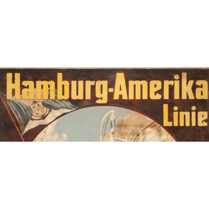 Affiche ancienne de voyage - Felix Schwormstadt - 1900- Hambourg-amerika-linie - 105.5 par 68.5 cm - 2