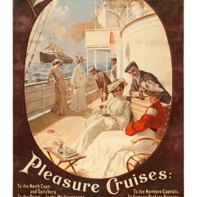 Affiche ancienne de voyage - Felix Schwormstadt - 1900- Hambourg-amerika-linie - 105.5 par 68.5 cm - 3