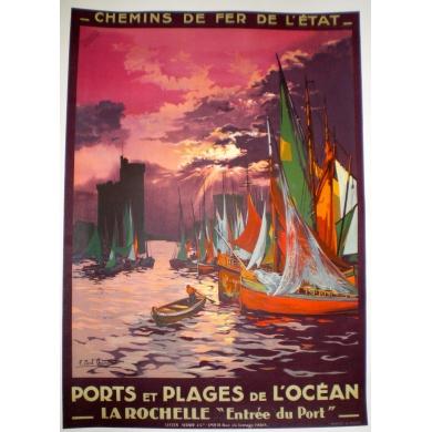 Affiche La Rochelle ports et plages de l'océan, Elbé Paris