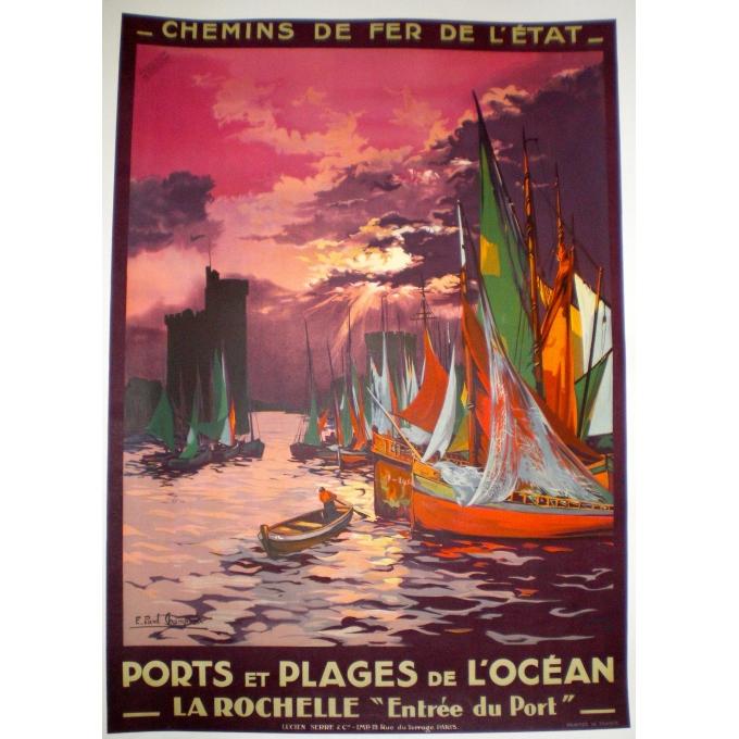 La Rochelle western France original vintage poster, elbé Paris