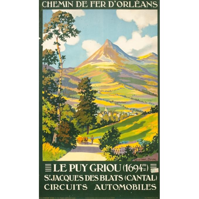 Affiche ancienne de voyage - Constant Duval - 1930- Le puy Grillou - 99 par 61 cm