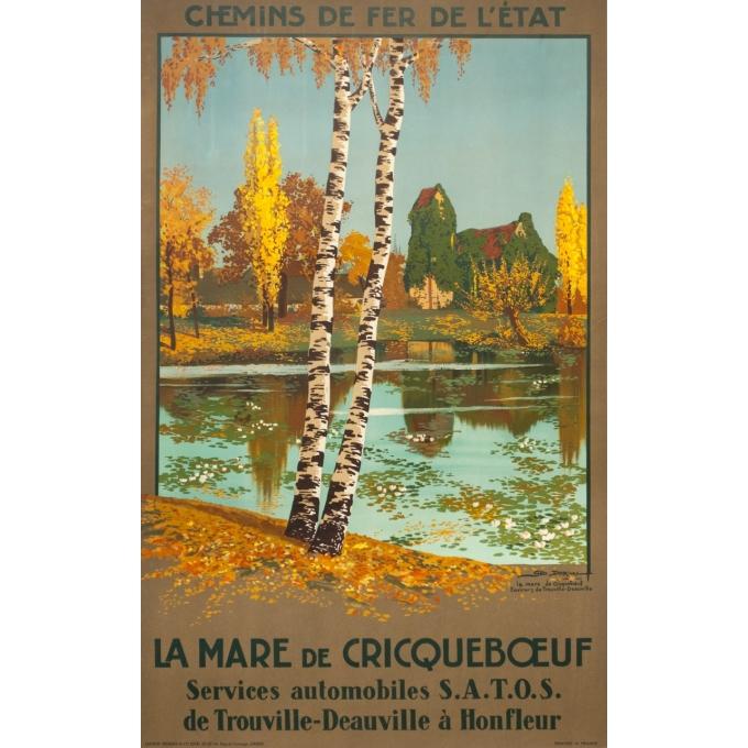 Affiche ancienne de voyage - Geo Dorival  - 1925 - La Marre de crique boeuf- 100 par 62 cm