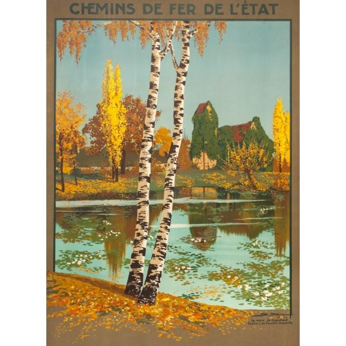 Affiche ancienne de voyage - Geo Dorival  - 1925 - La Marre de crique boeuf- 100 par 62 cm - 2