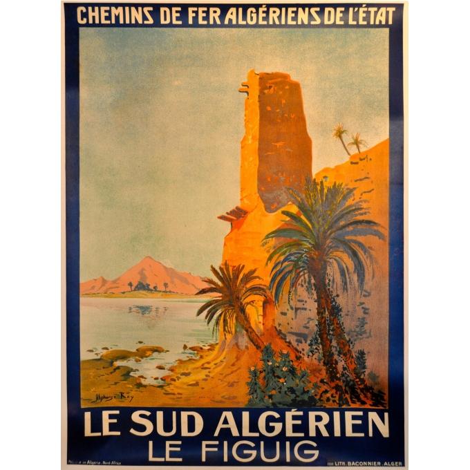 Affiche ancienne des chemins de fer algériens de l'Etat, Le figuig. Elbé Paris.