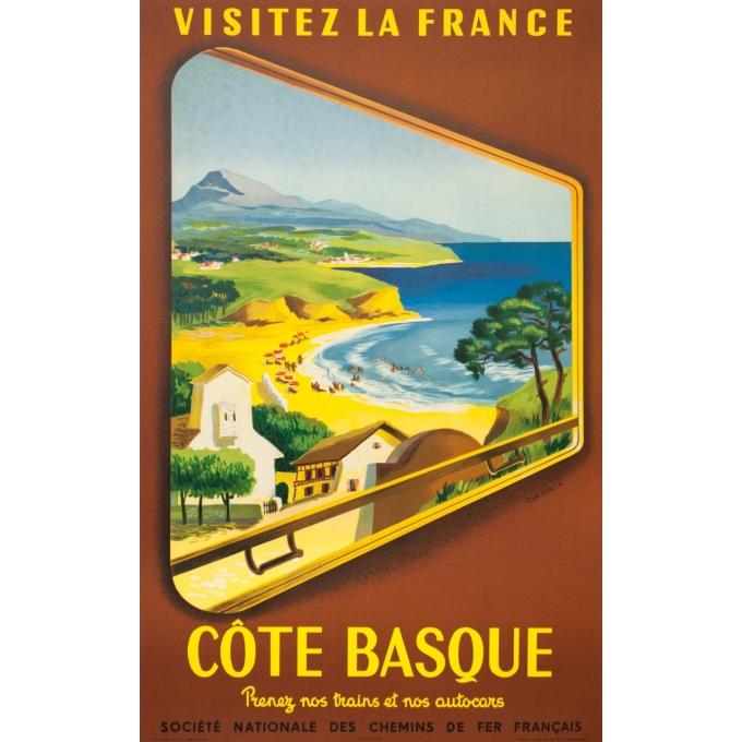 Affiche ancienne de voyage - Jean Garcia  - 1952 - Côte Basque - 100 par 62 cm