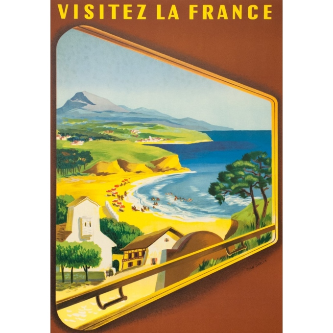 Vintage travel poster - Jean Garcia  - 1952 - Côte Basque - 39.4 by 24.4 inches - 2