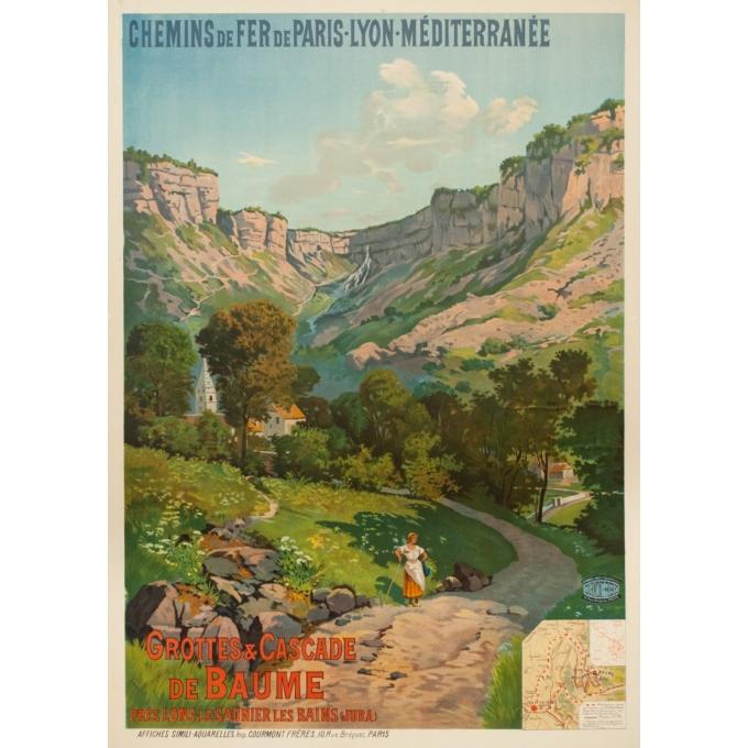Affiche ancienne de voyage - Tanconvillle - 1898- PLM -Grottes et cascades de Baume - 106 par 76 cm